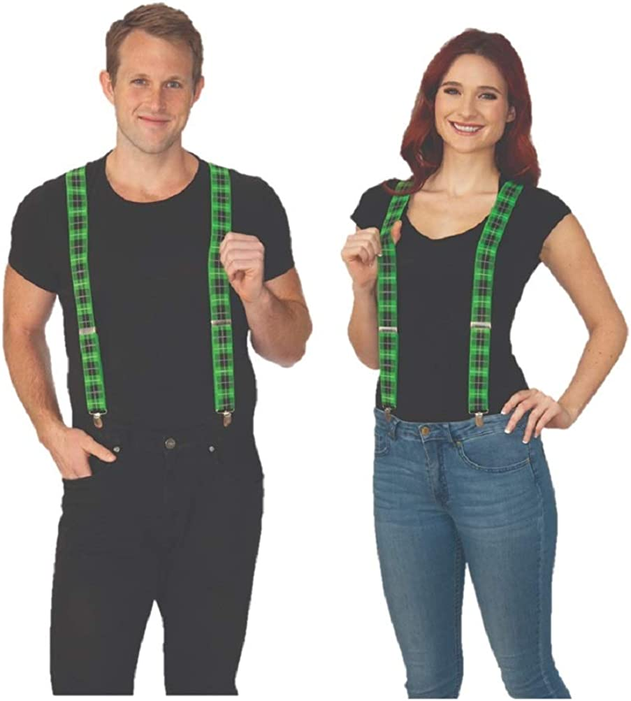 Adult Mens Womens St. Patrick's Day Green Plaid Suspenders