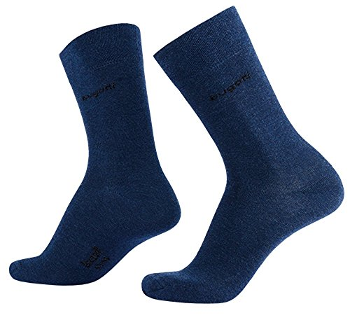 bugatti Basic Mens Socks 2er Pack 6702 546 indigo melange blau Strumpf Socken, Größe:39-42