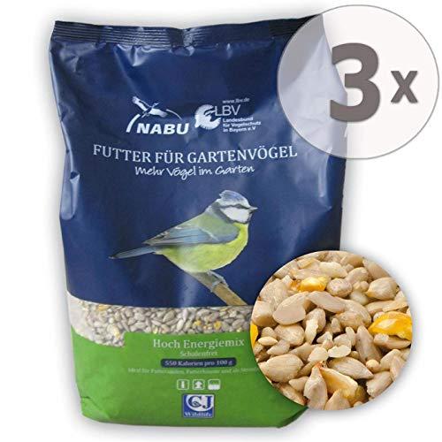 CJ Wildlife Wildvogelfutter Streufutter Hoch Energiemix - schalenfrei, Sparpack 3 x 2 kg
