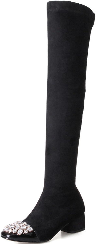Nine Seven Suede Leather Women's Square Toe Chunky Heel Side Zip Handmade Rhinestone Low Heel Black Boots