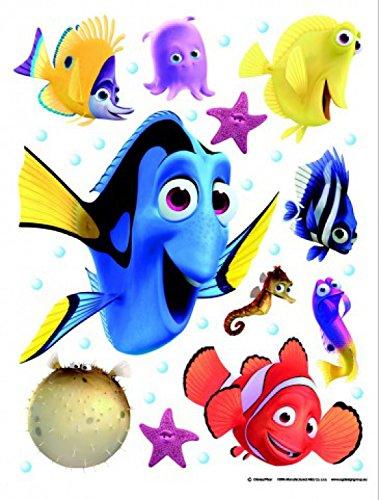 1art1 Findet Nemo - Dory, Puff, Khan, Bella, Blubbel, Sushi Wand-Tattoo | Deko Wandaufkleber für Wohnzimmer Kinderzimmer Küche Bad Flur | Wandsticker für Tür Wand Möbel/Schrank 85 x 65 cm