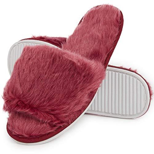 Ciabatte con Pelliccia da Donna in Memory Foam Babucce Morbide Pantofole Invernali Rosso Grigio Bianco Panna (40/41 EU, bordò)