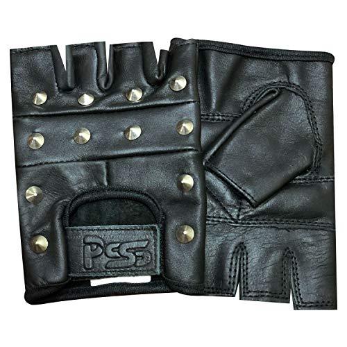 Prime Leather - Mitaines en Cuir Noir avec Clous Style Motard Gothique Taille XL