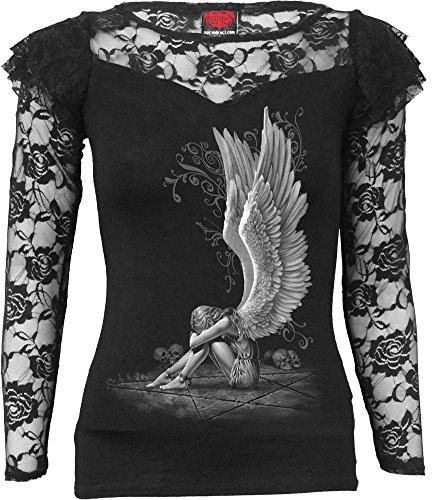 Spiral Direct Bright Eyes-Boatneck Cap Sleeve Top Camiseta, Negro (Black 001), 40 (Talla del Fabricante: Medium) para Mujer