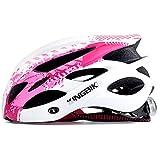 KINGBIKE 自転車 ヘルメット 大人用 ロードバイク/サイクリング ヘルメット 超軽量 高剛性 LEDライト・ヘルメットレインカバー付き 男女兼用 56-60CM M/L (M/L(56-60CM), ホワイト&ピンク)