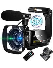 ビデオカメラ 4K デジタルビデオカメラ ユーチューブカメラ 外付けマイク+シェード+ハンドル+予備バッテリー 3000万画素 3インチタッチスクリーン LEDフィルライト 18倍デジタルズーム 日本語システム+説明書