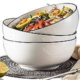 Salad Soup Ramen Bowls, 60 Oz Super Large Stackable Round White Fine Porcelain Cereal Pasta Serving Bowl Sets, 3 Pack
