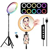 8.2' Selfie Ring Light with Tripod Stand andPhone Holder & Make-up Mirror, 14 Colors RGB & 3 Modesand 10 Brightness Levels LED Ringlight with Remote Control for Tiktok,YouTube Video,Live Streaming