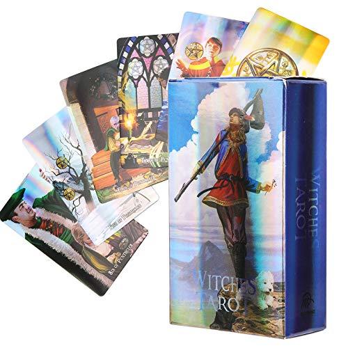 Fockety Cartas del Tarot, Cartas de Adivinación, Efecto Flash niñas Principiantes(Witches Tarot)