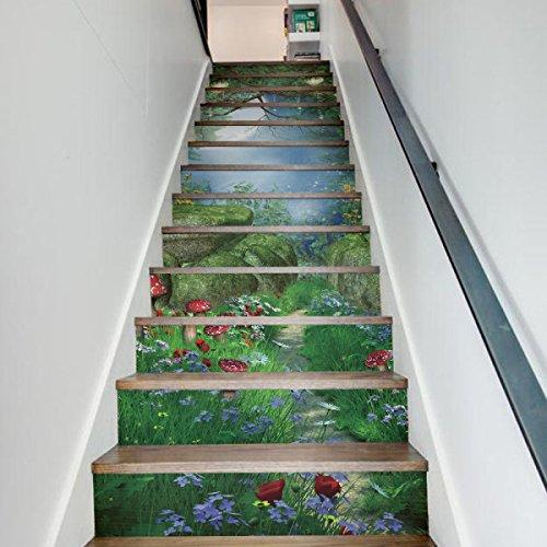 QTZS 3D Magic Forest Staircase Creativo Decorativo Bricolaje Renovación Pegatinas De Pared...