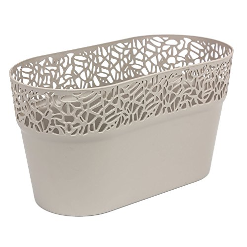 Ovale cache-pot NATURO plastique romantique style, mocca