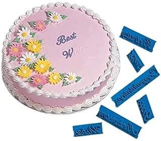 Anyana 6pcs set Happy Birthday & Best Wishes & Congratulations & Anniversary cookie fondant stamper biscuit stamp stamper impression cutter cupcake decorating Sugarcraft Cake Decoration topper