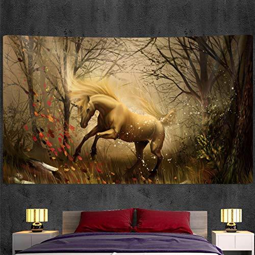 Tapiz de unicornio sagrado decoración de pared bohemia decoración de arte del hogar Mandala Hippie escena psicodélica colchón de dormitorio