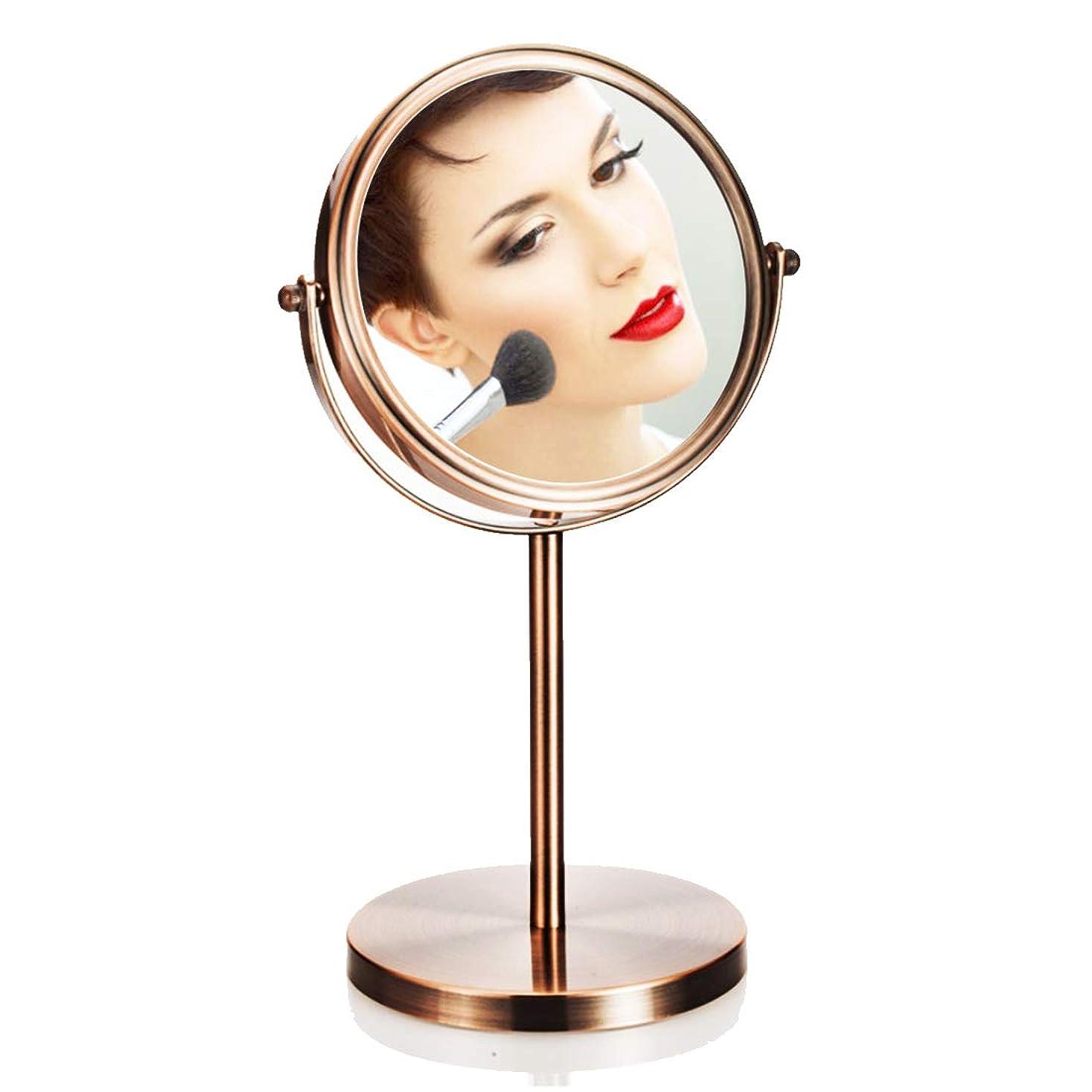 統治可能未払い黙両面化粧鏡フラットミラー+ 3倍拡大鏡デスクトップ拡大鏡寝室の浴室用,Brass,20cm