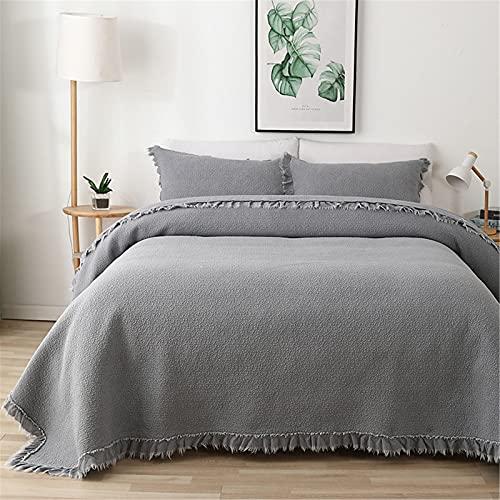Colchas acolchadas, colcha de edredón reversible de algodón suave con borla, juego de cama king size liviano para todas las estaciones con fundas de almohada, 230x250 cm,Gris