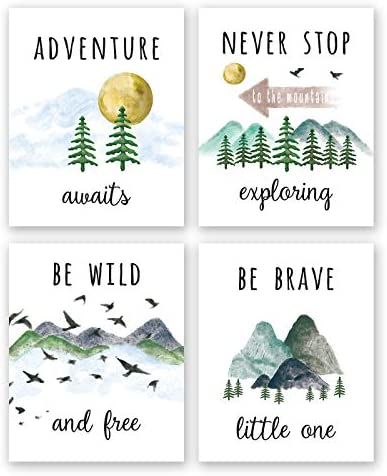 Colorful Inspirational Adventure Quote Art Print Nature Mountain Forest Motivational Saying product image