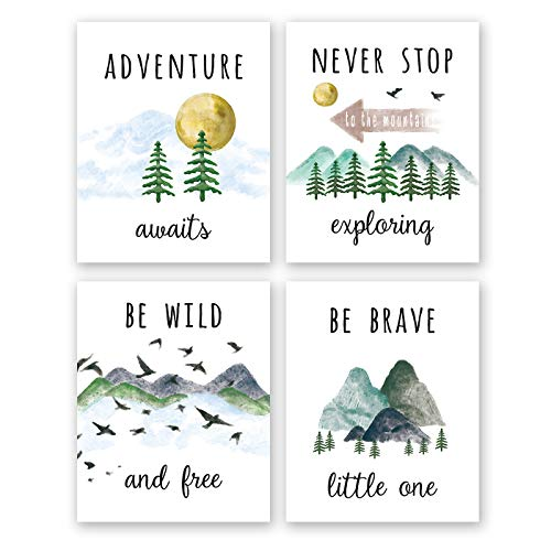 """Colorful Inspirational Adventure Quote Art Print-- Nature Mountain Forest Motivational Saying Canvas Wall Art--(8""""X10""""X4 pieces, Unframed)--Perfect for Office Nursery Decoration"""