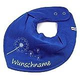 HALSTUCH PUSTEBLUME mit Namen oder Text personalisiert mittelblau für Baby oder Kind