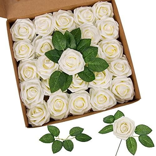 Künstliche Rosen, Schaumrosen 25 Stück - Blühender Schaum Künstliche Blumen mit Stiel für DIY Blumensträuße Mittelstücke Arrangement Party, Wohnkultur (Milchig Weiß)