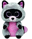 TY 36727 36727-Rocco-Waschbär mit Glitzeraugen, 15 cm, pink/grau