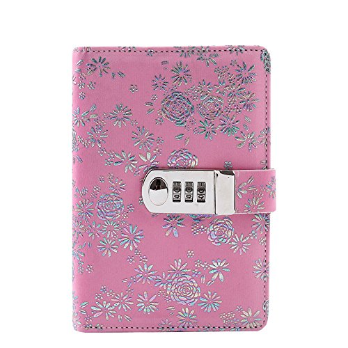 JunShop A6 Refillable Leather Journal Printing Password with Lock Diary PU Leather Multi Color Combination Lock Journal Combination Lock Diary/Size:18.5X13CM (Pink)