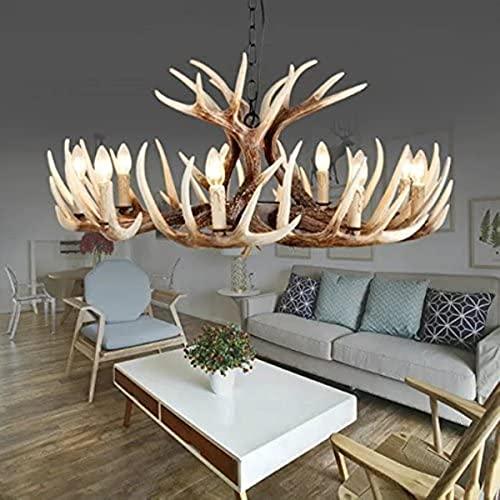 Chandeliers de cuernos de cuerno de ciervo de resina de estilo vintage, 9 luces (bulbos no incluidos)