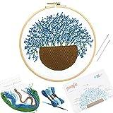 1 pieza 33 * 33 cm Gypsophila patrones Crewel bordado Craft Kits Dimensiones de punto de cruz suministros DIY decoraciones, azul, 22cm×15cm×1cm(8.66'×5.91'×0.39')