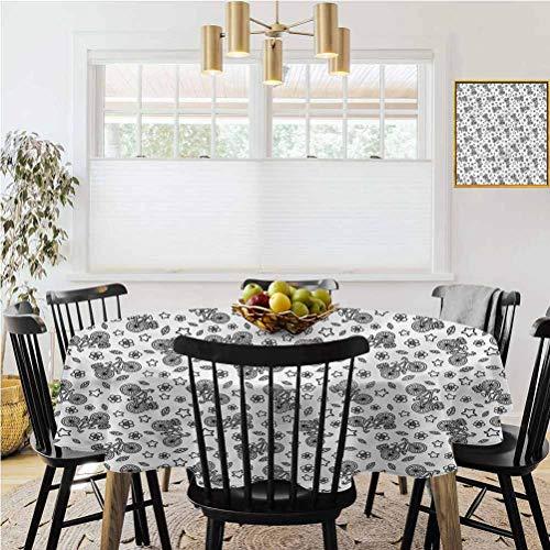 Ronde tafelkleed, Geruit tafelkleed, Fiets, Bloemen Sterren in Zwart Stof en wasbare tafelkleden in de eetkamer en keuken