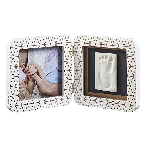 Cadre impression bébé, cadre photo 2er pour photo, main et empreinte, rond, édition cuivre blanc