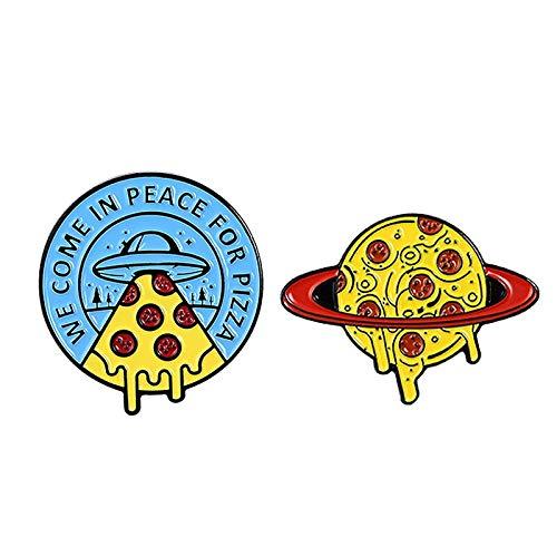 Raumschiff Delicious Pizza Alien Planet Emaille Pin Persönlichkeit Cowboy Rucksack Logo Abzeichen Revers Brosche Schmuck Geschenk