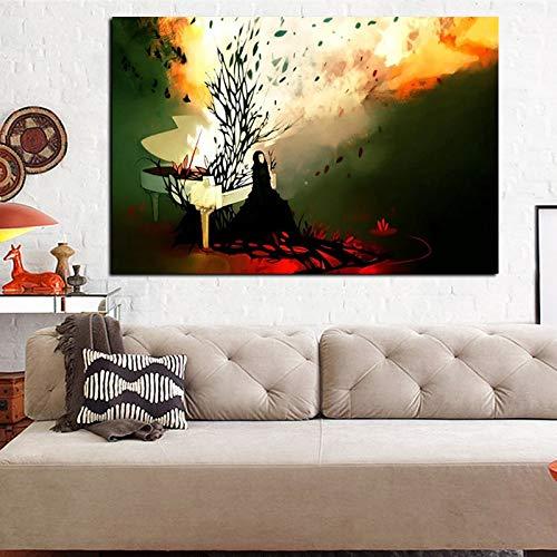 sanzangtang Rahmenlose Malerei HD abstrakte psychedelische Feuer Frau Klavier Ölgemälde auf Leinwand Pop ArtCGQ6005 60X90cm