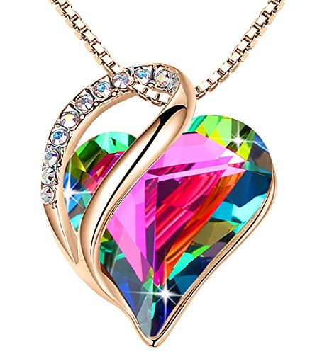 """Leafael 18K Rose Gold Plated Love Heart Pendant Necklace with Rainbow Obsidian Black Healing Stone Crystal for Recovery, Jewelry Gifts for Women, 18""""+2"""""""