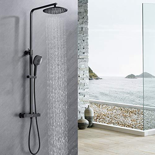 CECIPA Duschsystem mit Thermostat Mischer, Duscharmatur Thermostat mit Regendusche und Handbrause, Anti-Verbrühungs-Duschsystem, Schwarz