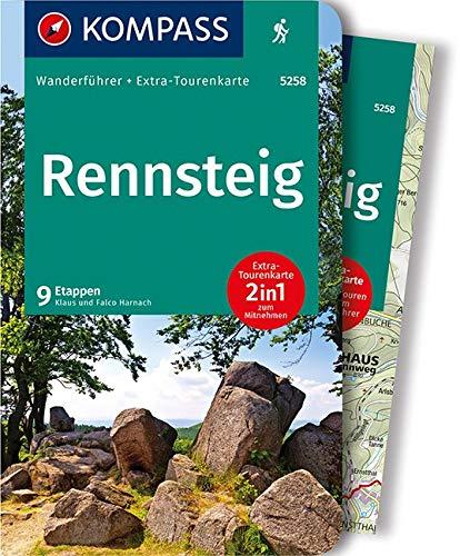 Rennsteig: Wandelgids met overzichtskaart: Wanderführer mit Extra-Tourenkarte 1:50.000, 9 Etappen, GPX-Daten zum Download: 5258