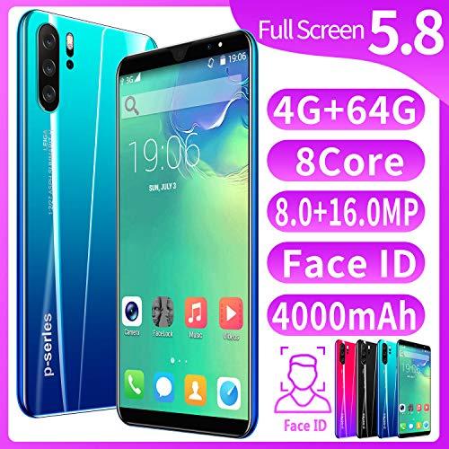 XGLL Pantalla Completa 5.8 Pulgadas Smartphones, 8.0MP + 16.0MP 4GB RAM + 64GB ROM 4000Mah Batería De Iones De Litio Dual SIM Teléfono Móvil,Azul