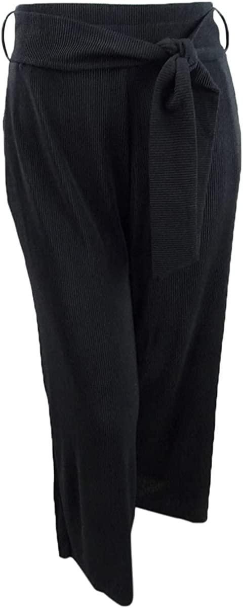 Alfani Women's Tie-Front Wide-Leg Pants (XL, Deep Black)