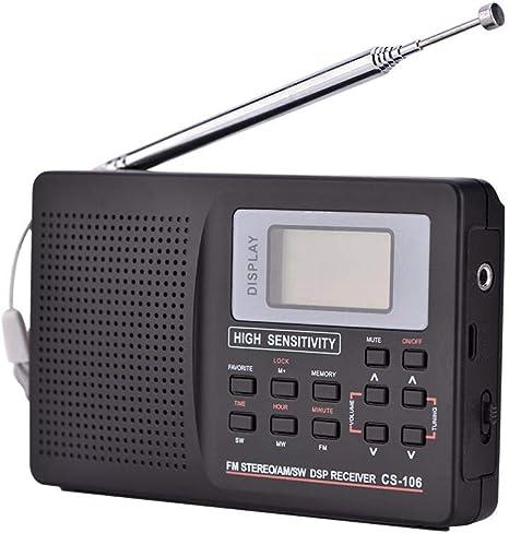 Kafuty Radio portátil de Onda Corta, FM/Am/SW/LW/TV Sonido Receptor de frecuencia Completa Radio con Pantalla, Radio Reloj Despertador con Antena ...