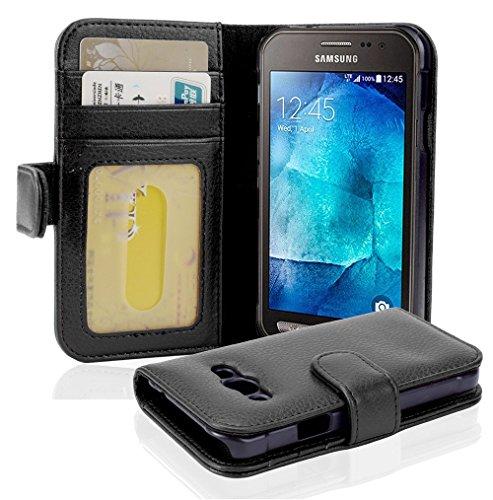 Cadorabo Hülle für Samsung Galaxy Xcover 3 in Oxid SCHWARZ – Handyhülle mit Magnetverschluss & 3 Kartenfächern – Hülle Cover Schutzhülle Etui Tasche Book Klapp Style