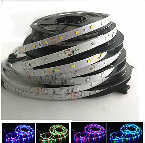 Tira de luz LED 2835 RGB impermeable 1-5 m, 12 V CC, 60 LED/M RGB LED tira de la lámpara diodo TV luz de fondo (color: rojo, longitud: 5 m, vatio: impermeable)
