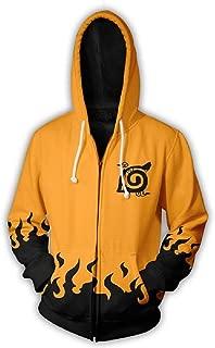 Naruto Six Paths Sage Mode Fire Black Yellow Zipper Hoodie Sweatshirt