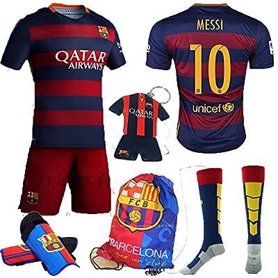 KID BOX® New 2015/2016 fc #10 Home Soccer Football Jersey Sportswear Team Polo Shirt & Short & Sock & KEY CHAIN for Kids 3-14 Years