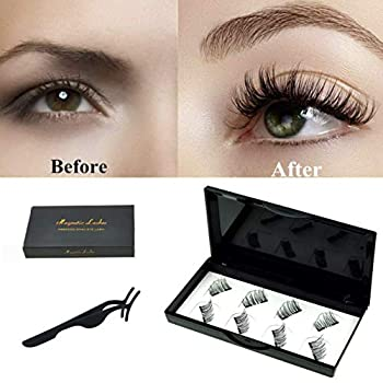 No Glue Dual Magnetic Eyelashes 0.2mm Ultra Thin Magnet Lightweight & Easy to Wear Best 3D Reusable Lashes Extensions  2 pairs with Tweezers   black2