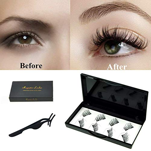 No Glue Dual Magnetic Eyelashes 0.2mm Ultra Thin Magnet Lightweight & Easy to Wear Best 3D Reusable Lashes Extensions (2 pairs with Tweezers) (black2)