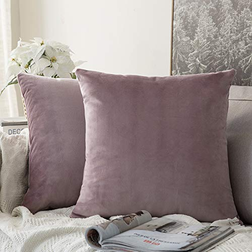 MIULEE Pack of 2 Velvet Soft Solid Decorative Square Throw Pillow Covers Set Cushion Case for Sofa Bedroom Car 16 x 16 Inch 40 x 40 cm Pink Purple