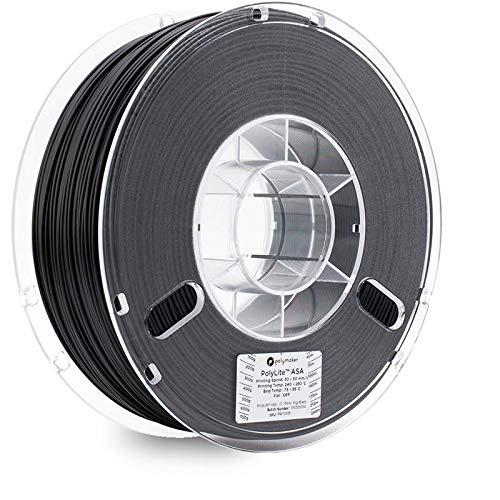 Polymaker Filament d'imprimante 3D PolyLite ASA, filament d'impression 3D, filament résistant aux intempéries, résistant aux UV, 1.75 mm, Noir véritable.