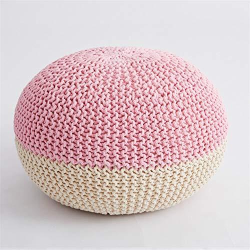 SHILONG Divano Sgabello, Cucito A Mano Cuscino Moderna Lavorato A Maglia Sedile Poggiapiedi Sgabello Decorativo Domestico (Color : Pink)