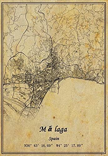 Póster de mapa de España Málaga para pared con impresión en lienzo, estilo vintage, sin marco, decoración de regalo de 50 x 70 cm