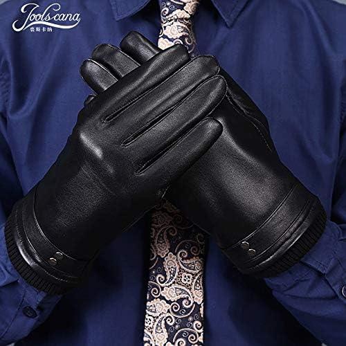 Men Gloves Genuine Leather Winter Gloves for Men Good Present top New Brand Black Mittens Wool Wrist 2018 Fashion - (Color: Black, Gloves Size: Suit Palm 20-23.5cm)