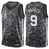XIAOHAI Hombres Camisetas de la NBA, San Antonio Spurs Tony Parker # 9 Transpirable Resistente al Desgaste Malla Bordado Baloncesto del Swingman de los Jerseys,S
