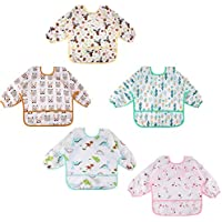 Lictin 5 Pcs Babero con Mangas Impermeable- Babero de Manga Larga con Escote Ajustable para Bebes (0-24 meses)